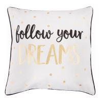 """Polštář se zlatými puntíky """"follow your DREAMS"""""""