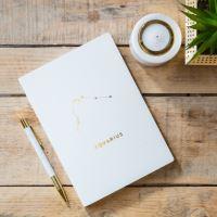 Notes v tvrdých deskách bílý se znamením KOZOROH,  21,5x15,5x1cm