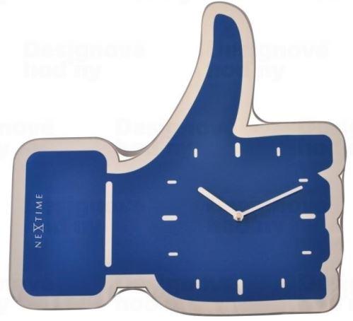 Designové nástěnné hodiny 3072bl Nextime Facebook Like 42cm