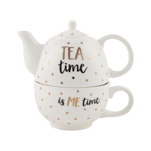 Sass & belle Čajová konvička s hrnečkem Tea time bílá barva zlatá barva keramika 300 ml
