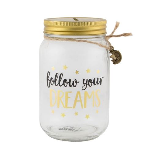 Kasička FOLLOW YOUR DREAMS Sass & Belle, sklo/kov- čirá/černá/zlatá