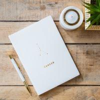Notes v tvrdých deskách bílý se znamením RAK,  21,5x15,5x1cm