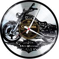 Nástěnné vinylové hodiny Motorka #3 – silver edition