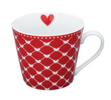 Porcelánový hrnek s ouškem Red hearts 350 ml