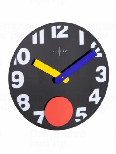 Fisura nástěnné hodiny Punto Black 40cm