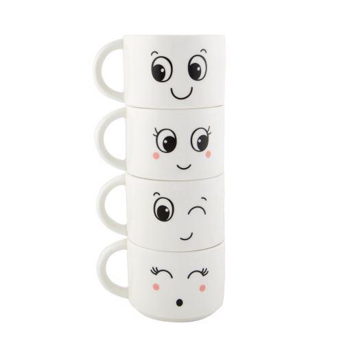 Set 4 hrníčků FUN FACES,  keramika. -bílá/černá