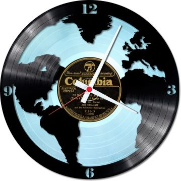 Nástěnné vinylové hodiny Kolem světa #1 Blue version