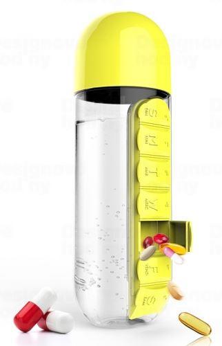 ASOBU multifunkční týdenní dávkovací láhev Pill Organizer žlutá 600ml