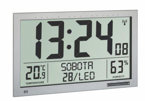 Nástěnné DCF hodiny TFA 60.4517.54 s teploměrem a vlhkoměrem - velikost XL