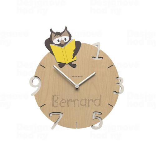Dětské nástěnné hodiny s vlastním jménem CalleaDesign sova 36cm