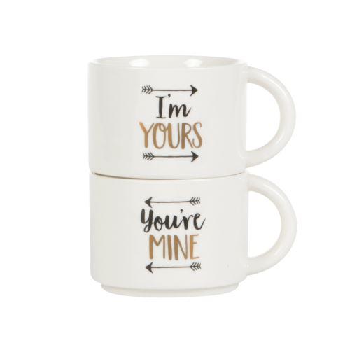 Set 2 hrnků YOU'RE MINE & I'M YOURS, keramika - bílá/zlatá/černá