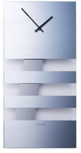 Designové nástěnné hodiny 2855mi Nextime BOLD STRIPES silver 38x19cm