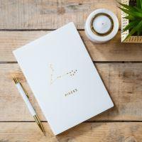 Notes v tvrdých deskách bílý se znamením RYBY,  21,5x15,5x1cm