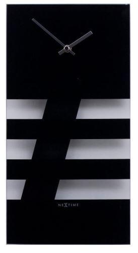 Designové nástěnné hodiny 2855zw Nextime BOLD STRIPES black 38x19cm