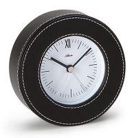 Designové kožené stolní hodiny-budík AT3048