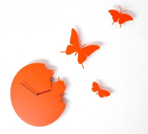 Designové hodiny Diamantini & Domeniconi Butterfly orange 40cm