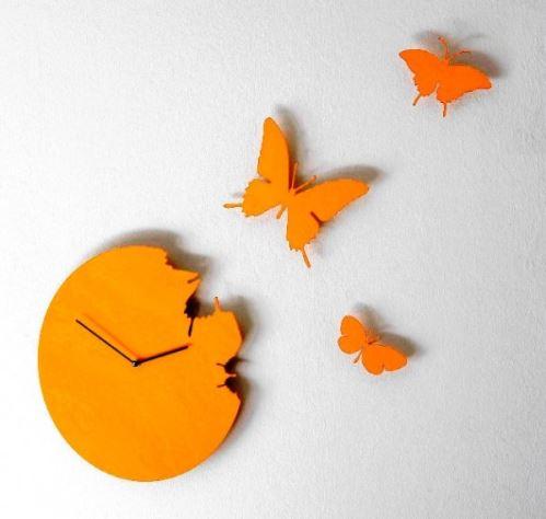 Designové hodiny Diamantini a Domeniconi Butterfly diamond yellow 40cm