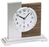 Luxusní stolní hodiny 5149 AMS s dekoraci ořechové dýhy, řízené rádiovým signálem 17cm