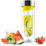 Skleněná láhev s infuserem Flavour It yellow&silver 480 ml
