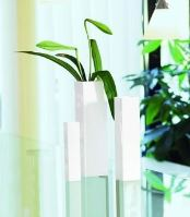 Váza QUADRO, keramika, V.25cm, 6x6cm - bílá (lesklá)