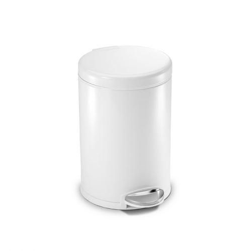 Pedálový odpadkový koš Simplehuman – 4,5 l, kulatý, bílý