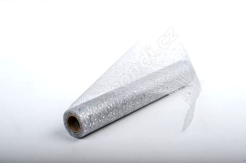 Dekorativní tkanina Fibre glitr 30cm x 4,6m STŘÍBRNÁ