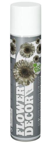 Barva ve spreji na živé květiny 400ml FLOWER DECOR - stříbrná 10081