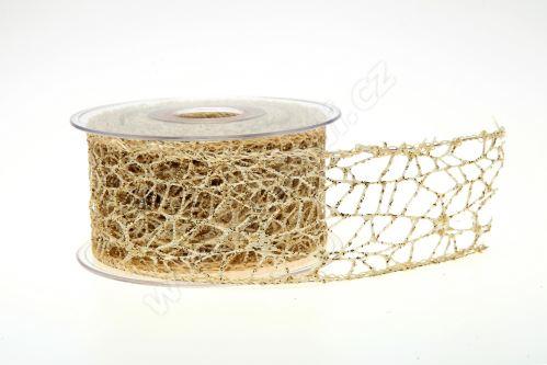 Dekorativní stuha Big spider glitter 5cm x 9,1m 6-ŠAMPAŇ