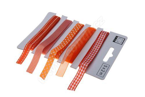 Oranžový set textilních stuh 1,1cm x 2m 5ks