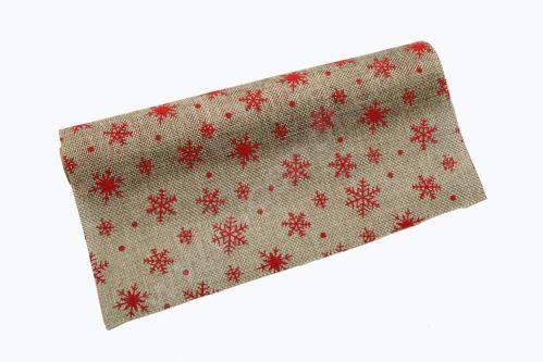 Vánoční jutová role 28cm x 3m 47 - přírodní/červená