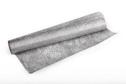 Vánoční metalická tkanina long fiber - metal 30cm x 4,6m  stříbrná