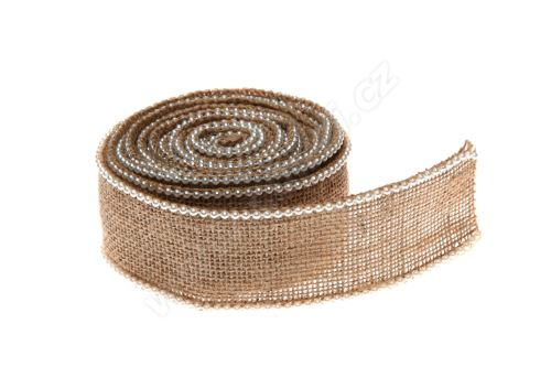 Stuha jutová s perlami 5cm x 3m JL023 -PŘÍRODNÍ