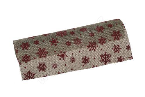 Vánoční jutová role 28cm x 3m 47 - přírodní/bordeaux