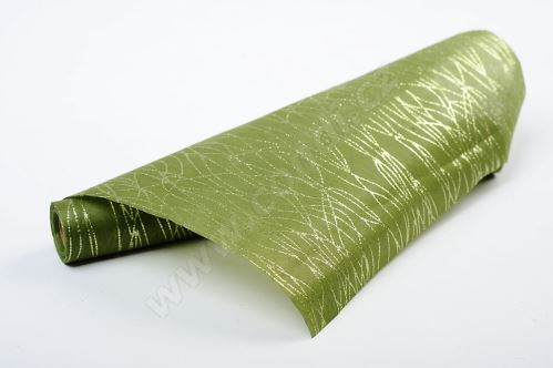 Vlizelín dekorativní a aranžerský s glitrem 37,5cm ZELENÝ