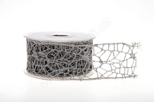 Dekorativní stuha Big spider glitter 5cm x 9,1m 22-ŠEDÁ