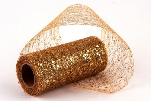 Dekorativní tkanina Fibre glitr 10cm x 4,6m ZLATÁ