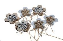 Zápich dřevěný květ 6ks