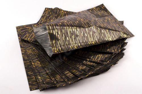 Sáček polypropylenový metalizovaný s potiskem 25 x 40cm 50ks černý se zlatou
