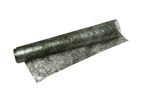 Vánoční metalická tkanina long fiber - metal 30cm x 4,6m  zelená