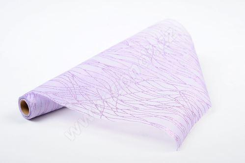 Vlizelín dekorativní a aranžerský s glitrem 37,5cm FIALOVÝ