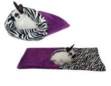 Marysa pelíšek 3v1 pro hlodavce, fialový/zebra
