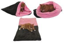 Marysa pelíšek 3v1 pro kočky, tmavě šedý/světle růžový, velikost XL