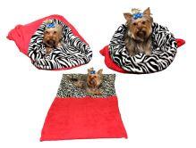 Marysa pelíšek 3v1 pro psy, červený/zebra, velikost XL