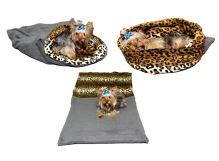 Marysa pelíšek 3v1 pro psy, šedý/leopard, velikost XL