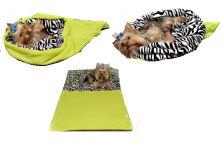 Marysa pelíšek 3v1 pro psy, světle zelený/zebra, velikost XL