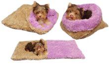 Marysa pelíšek 3v1 pro štěňátka/koťátka, DE LUXE, béžový/fialový