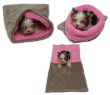 Marysa pelíšek 3v1 pro štěňátka/koťátka, béžový/světle růžový