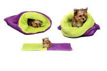 Marysa pelíšek 3v1 pro štěňátka/koťátka, fialový/světle zelený