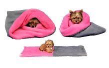 Marysa pelíšek 3v1 pro štěňátka/koťátka, šedý/tmavě růžový