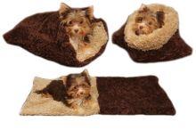 Marysa pelíšek 3v1 pro štěňátka/koťátka, DE LUXE, tmavě hnědý/béžový